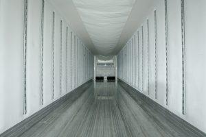 inside semi truck trailer