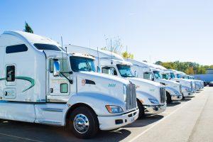 semi trucks in a row