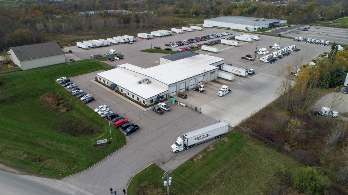 van eerden trucking full property from drone above