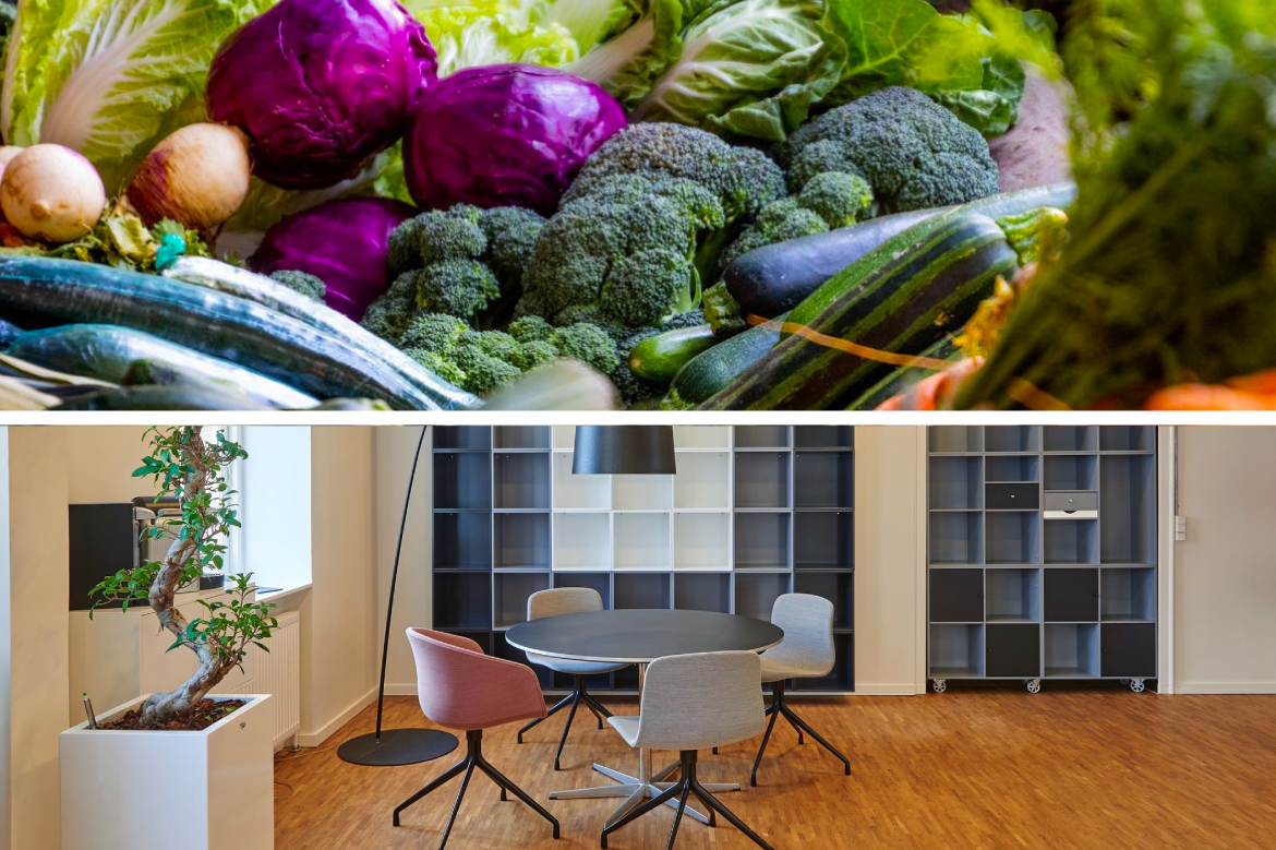 produce and table and chairs